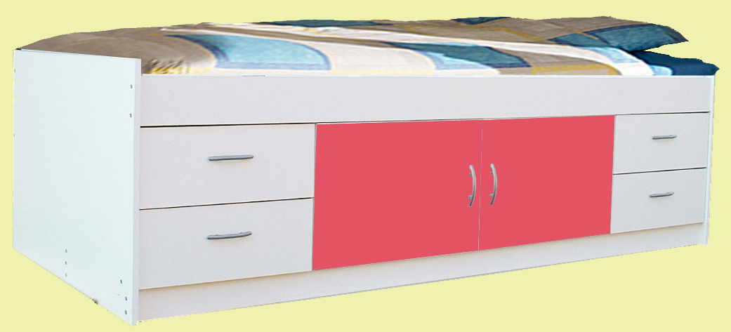 Gamma Cheap Single Cabin Bed White plus Pink Blue or all