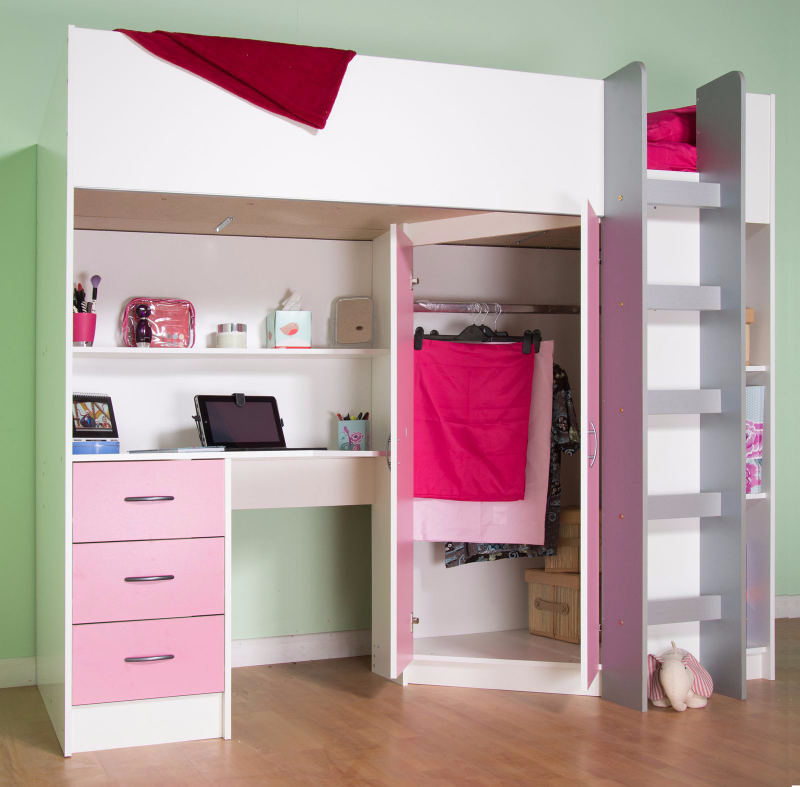 High sleeper cabin bed, with desk and wardrobe, also wood effects