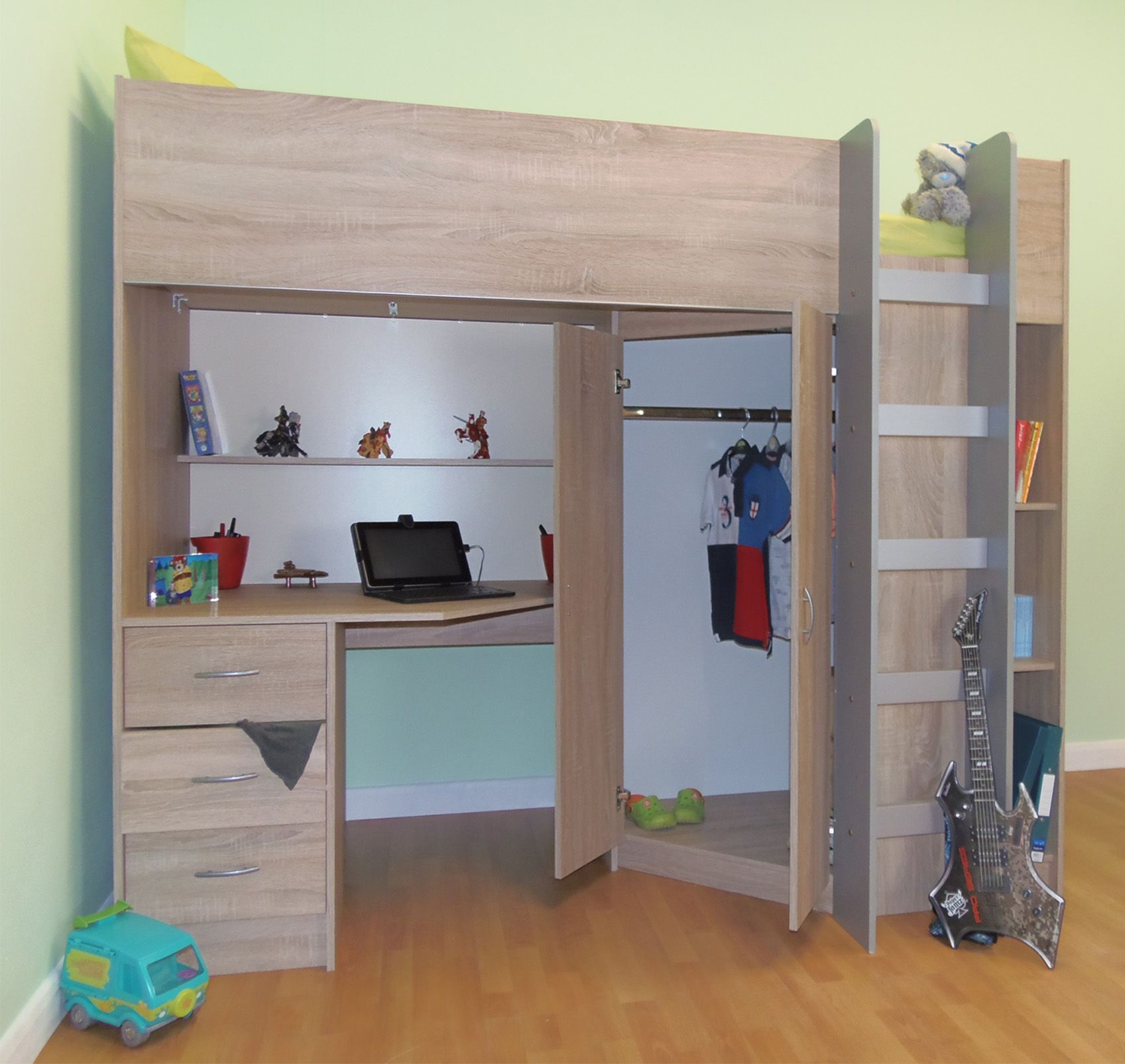 Superb img of High sleeper cabin bed with wardrobe and desk Oak style Calder  with #8E673D color and 1697x1605 pixels