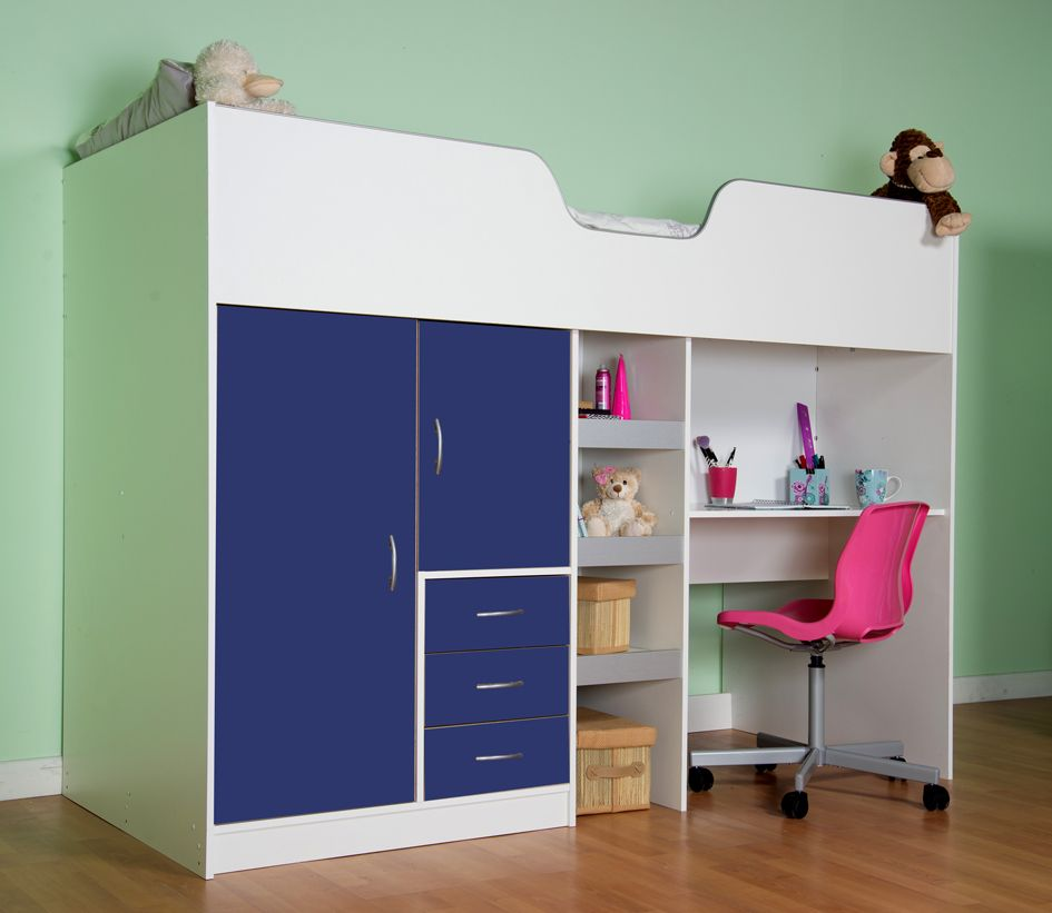 High Sleeper Cabin Bed With Colour Options Ideal Children Safe Bed With Wardrobe And