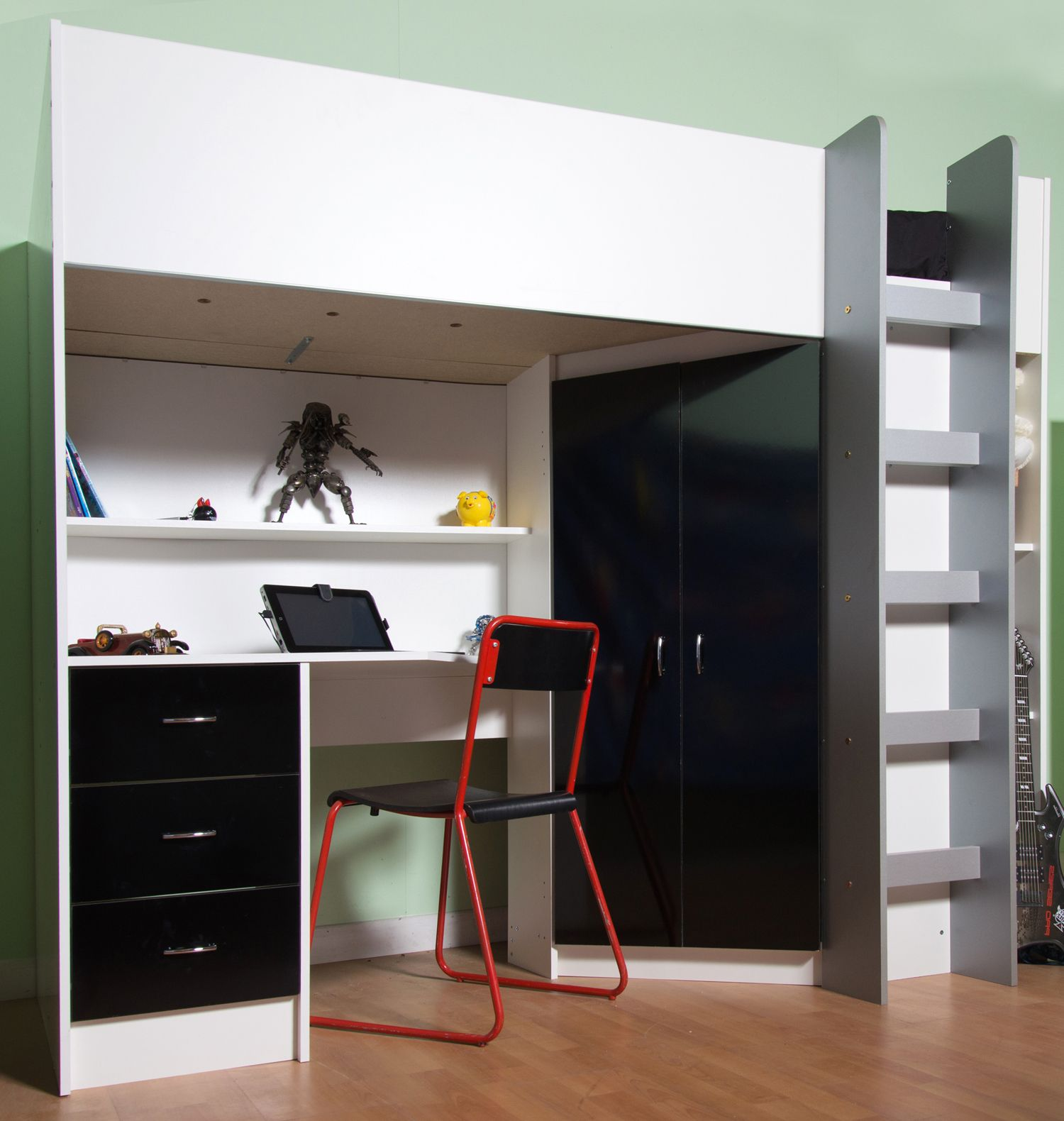 High Sleeper Cabin Bed With Desk And Wardrobe Also Wood