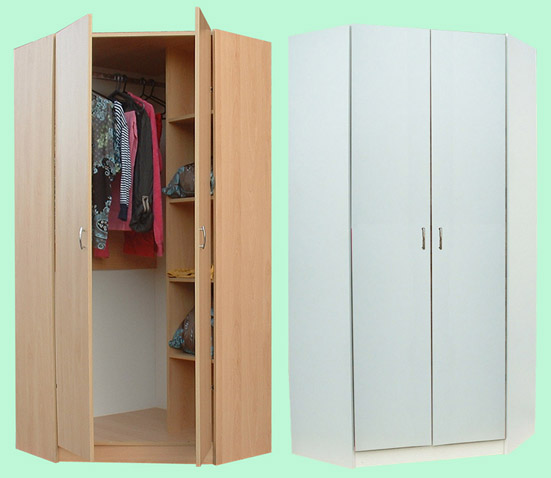 Junita 2 Door Corner Wardrobe M2090 Beech Amp White
