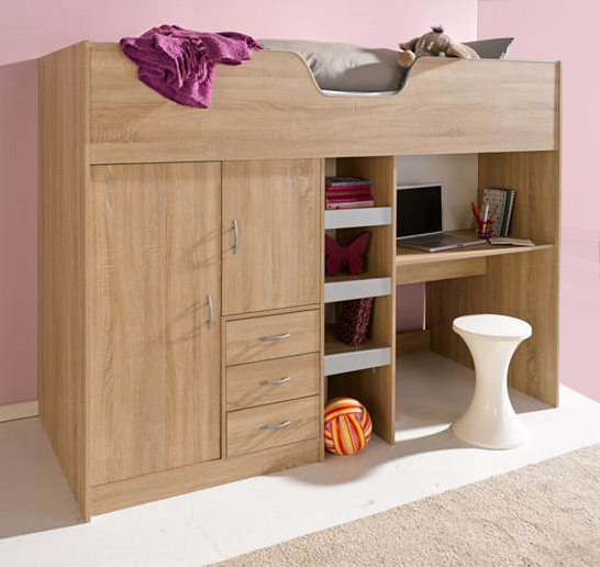 Bourne High Sleeper Cabin Bed Oak