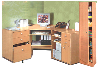 home office corner computer desk group plus cupboard m0710 - Corner Computer Desks