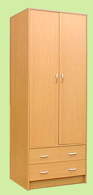 JUNITA 2 DOOR AND 2 DRAWER WARDROBE - M1800 BEECH or WHITE or WHITE with BLUE, PINK or WALNUT