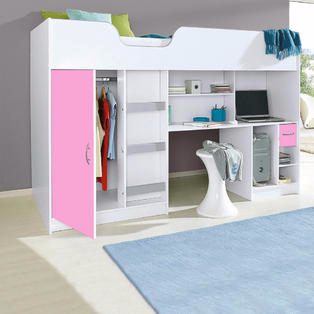 Lifestyle High Sleeper White with Pink