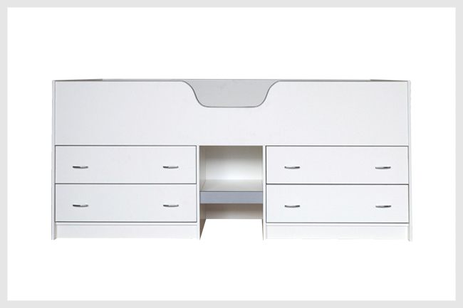 White high sleeper bed with four drawers underneath