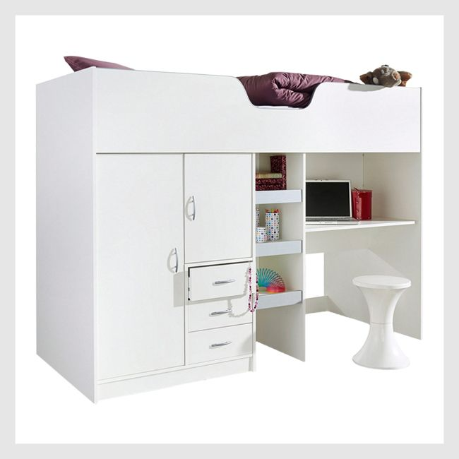 White and grey bunk bed with wardrobe and desk underneath