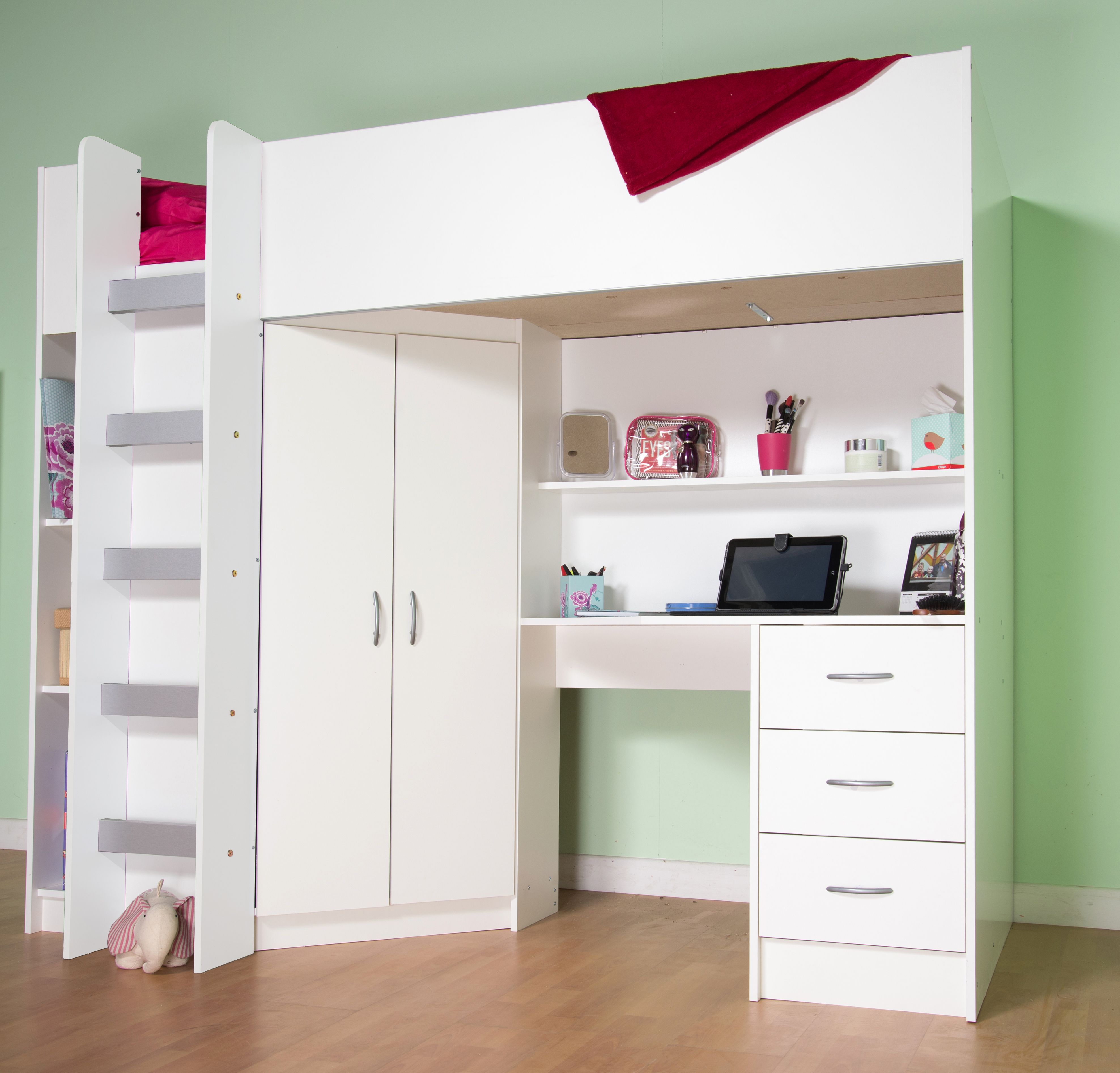 White bunk bed for children with ladder