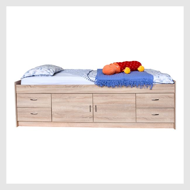 High oak cabin bed with drawers and cupboard underneath
