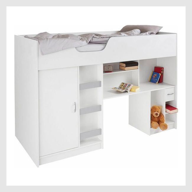 White bunk bed with ladder and shelving underneath